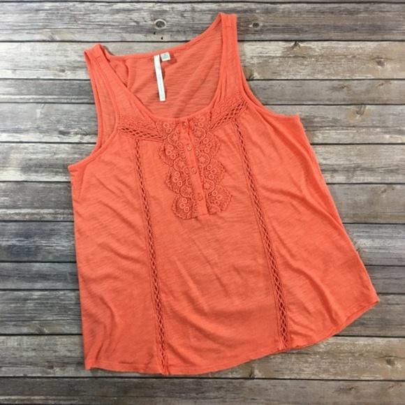 LC Lauren Conrad Tops - LC Lauren Conrad Peachy Orange Lacy Tank Top (M)